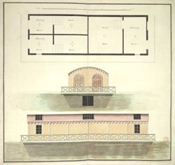 (Plan and side elevations of the King's Floating Baths at) Weymouth 12i